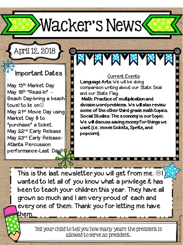 3rd Grade - Ms. Wacker